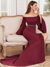 Off-Shoulder Fishtail Evening Dress With Long Flared Sleeves-Burgundy 1