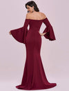 Off-Shoulder Fishtail Evening Dress With Long Flared Sleeves-Burgundy 5