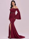 Off-Shoulder Fishtail Evening Dress With Long Flared Sleeves-Burgundy 6