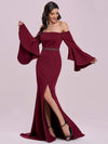 Off-Shoulder Fishtail Evening Dress With Long Flared Sleeves-Burgundy 7