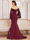 Off-Shoulder Fishtail Evening Dress With Long Flared Sleeves-Burgundy 2