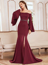 Off-Shoulder Fishtail Evening Dress With Long Flared Sleeves-Burgundy 3