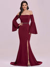 Off-Shoulder Fishtail Evening Dress With Long Flared Sleeves-Burgundy 4