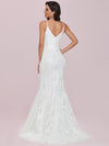 Minimalist Fishtail Deep V Neck Lace Wedding Dress-Cream 5