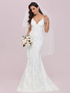 Minimalist Fishtail Deep V Neck Lace Wedding Dress-Cream 4