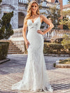 Minimalist Fishtail Deep V Neck Lace Wedding Dress-Cream 3