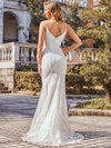 Minimalist Fishtail Deep V Neck Lace Wedding Dress-Cream 2