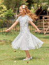 Fancy Round Neck Tulle Flower Girl Dress With Sequin-White 3