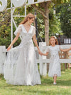 Fancy Round Neck Tulle Flower Girl Dress With Sequin-White 6