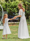 Fancy Round Neck Tulle Flower Girl Dress With Sequin-White 7