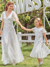 Fancy Round Neck Tulle Flower Girl Dress With Sequin-White 9
