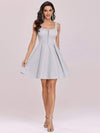 Fancy Square Neck Above Knee Prom Dress-Grey 1