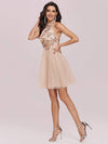 Stylish Halter Neckline Sequin Bodice Short Tulle Prom Dress-Blush 3