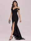 Stunning Off Shoulder Mermaid High-Low Evening Dress With Tulle-Black 3