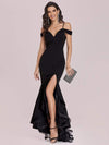 Stunning Off Shoulder Mermaid High-Low Evening Dress With Tulle-Black 4