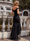Stunning Off Shoulder Mermaid High-Low Evening Dress With Tulle-Black 2