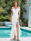 Stunning Off Shoulder Mermaid High-Low Evening Dress With Tulle-Cream 1