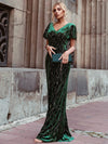 Sexy V Neck Velvet Evenig Dress With Gold Stamping-Dark Green 1