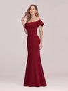 Sexy Off Shoulder Mermaid Evening Dress With Appliques-Burgundy 3