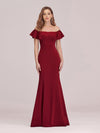 Sexy Off Shoulder Mermaid Evening Dress With Appliques-Burgundy 1
