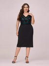 Women'S Plus Size V Neck Sequin Midi-Length Party Dress-Black 4
