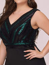 Women'S Plus Size V Neck Sequin Midi-Length Party Dress-Black 5