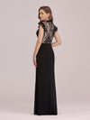 Elegant Floor Length Lace Fishtail Evening Dress With Ruffles-Black 2