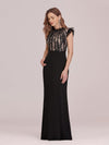 Elegant Floor Length Lace Fishtail Evening Dress With Ruffles-Black 3