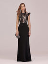 Elegant Floor Length Lace Fishtail Evening Dress With Ruffles-Black 4