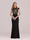 Elegant Floor Length Lace Fishtail Evening Dress With Ruffles-Black 1