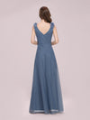 Romantic Diamond Stamping V Neck Tulle Prom Dress With Appliques-Dusty Navy 2