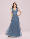 Romantic Diamond Stamping V Neck Tulle Prom Dress With Appliques-Dusty Navy 1