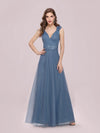 Romantic Diamond Stamping V Neck Tulle Prom Dress With Appliques-Dusty Navy 4