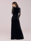 Elegant V Neck Sheath Evening Dress With Long Lace Sleeves-Black 2