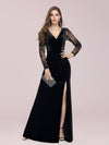 Elegant V Neck Sheath Evening Dress With Long Lace Sleeves-Black 4