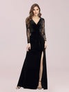 Elegant V Neck Sheath Evening Dress With Long Lace Sleeves-Black 1