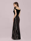 Women'S Hot Off Shoulder Fishtail Sequin Evening Dress-Black 2
