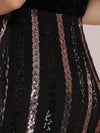 Women'S Hot Off Shoulder Fishtail Sequin Evening Dress-Black 5