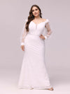 Dainty Fishtail Lace Plus Size Wedding Dress With See-Through Sleeves-Cream 3
