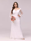 Dainty Fishtail Lace Plus Size Wedding Dress With See-Through Sleeves-Cream 1