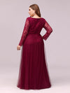 Elegant Maxi Tulle & Lace Evening Dress For Mother Of The Bride-Burgundy 2