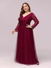 Elegant Maxi Tulle & Lace Evening Dress For Mother Of The Bride-Burgundy 3