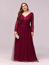 Elegant Maxi Tulle & Lace Evening Dress For Mother Of The Bride-Burgundy 1