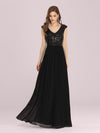 Stunning A-Line Chiffon Evening Dress With Sequin Bodice-Black 3
