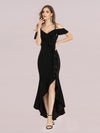 Sexy Long High-Low Party Dress With Spaghetti Straps-Black 1