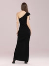 Hot One Shoulder Sheath Party Dress With Ruffles-Black 2