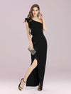 Hot One Shoulder Sheath Party Dress With Ruffles-Black 3