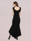Stylish Maxi V Neck High-Low Fishtail Party Dress-Black 2