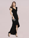 Stylish Maxi V Neck High-Low Fishtail Party Dress-Black 3