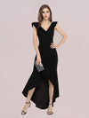 Stylish Maxi V Neck High-Low Fishtail Party Dress-Black 1